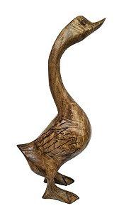Escultura de Ganso Em Madeira - Médio
