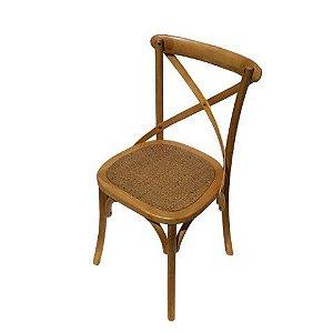 Cadeira X Em Madeira Teca e Assento Rattan