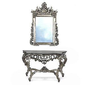 Conjunto Aparador e Espelho Barroco - Folha de Prata