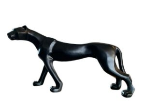 Escultura de Pantera Preta Fosca em Resina