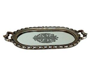 Bandeja Prata Oval com Fundo de Vidro Decorado em Resina