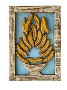 Quadro de Vaso com Bananas em Madeira de Demolição