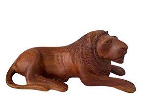 Escultura Leão em Madeira Entalhada Decorativo Direita