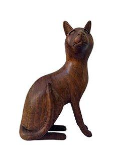 Escultura Gato de Madeira Decorativo