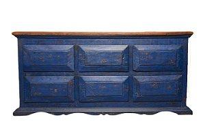 Arcaz 6 Gavetões Azul com Tampo Encerado em Madeira de Demolição