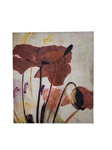 Quadro Flores Colorido 0,84m X 0,74m - Acrílico Sobre Tela