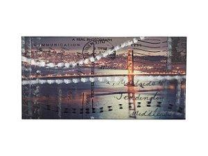 Quadro Ponte 1m X 2m - Tela Hibrida Impressa com Intervenção de Tinta Acrílica