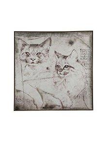 Quadro Gatos com Moldura 1,02m X 1,02m - Tela Impressa