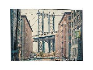 Quadro Cidade 1,00m X 1,40m - Tela Hibrida Impressa com Intervenção de Tinta Acrílica