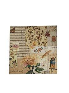 Quadro Pássaro com Flores 0,50m X 0,50m - Tela Impressa