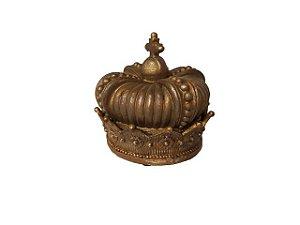Porta Objetos Coroa Real Dourada em Resina