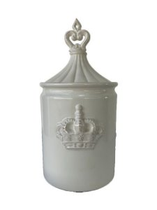 Pote Decorativo Coroa em Relevo em Cerâmica Branco com Tampa