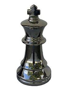 Peça de Xadrez Cerâmica Cromada Decorativa Rei