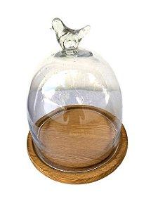 Boleira de Vidro com Base de Madeira Passarinho