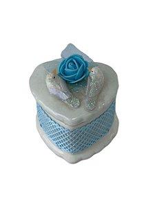 Porta Joias de Cerâmica Passarinhos e Flor