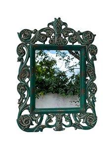 Espelho Quadrado Verde Envelhecido em Resina