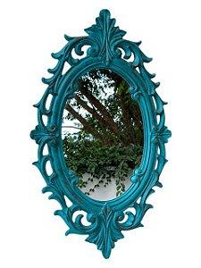 Espelho Oval Verde Envelhecido em Resina