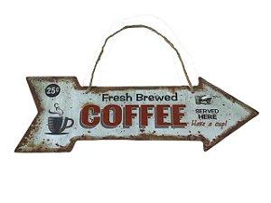 Placa Decorativa em Seta Coffee