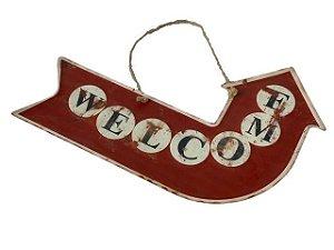 Placa Decorativa Seta Curva Welcome