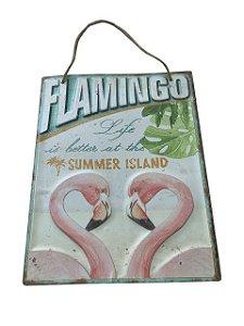 Placa Decorativa Flamingos