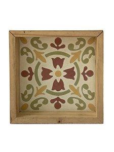 Quadro Decorativo Azulejo Hidráulico Mosaico Colorido com Moldura de Madeira