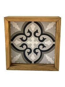 Quadro Decorativo Azulejo Hidráulico Mosaico Cinza com Moldura de Madeira