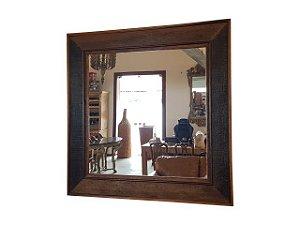 Espelho Quadrado Grande em Madeira de Demolição