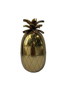 Pote Abacaxi Decorativo em Metal Dourado
