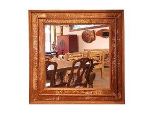 Espelho Quadrado Patinado Branco em Madeira de Demolição