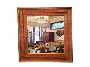 Espelho Quadrado Patinado Vermelho em Madeira de Demolição