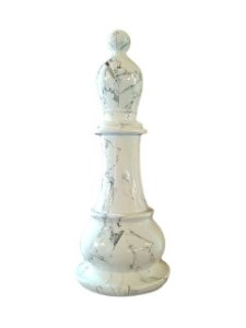 Peça de Xadrez Decorativa em Resina Branca Bispo