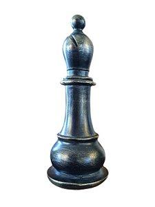 Peça de Xadrez Decorativa em Cerâmica Preta Bispo