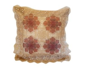Capa de Almofada Bordada 100% Polyester - Flores Marrom - Sem Enchimento