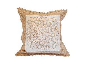 Capa de Almofada Bordada 100% Polyester - 5 Flores - Sem Enchimento
