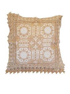 Capa de Almofada Bordada 100% Polyester - 4 Flores - Sem Enchimento