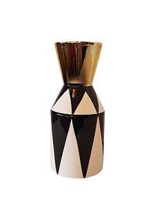 Jarro Vaso de Cerâmica Preto Branco e Dourado