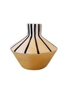 Jarro Vasinho de Cerâmica Circular Listrado Pequeno