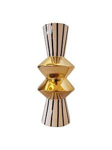 Jarro Vaso de Cerâmica com Listras Preto e Branco