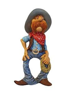 Escultura Cowboy de Bigode em Resina