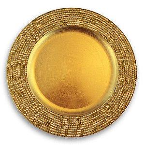 Sousplat Gold em Acrílico com Strass 36X36