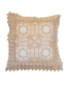 Capa de Almofada Bordada 100% Polyester 4 Flores - Sem Enc.