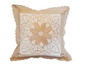 Capa de Almofada Bordada 100% Polyester - Flor - Sem Ench.