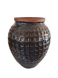 Vaso De Cerâmica Vietnamita Azul C/ Desenho Geom. Alt Rel M