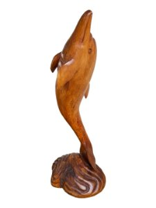 Escultura Golfinho Angelim Pedra em Madeira Entalhada