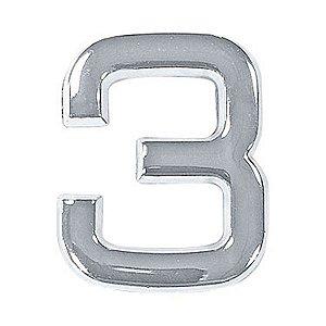 Número 3 em ABS Cromado 39mm Autoadesivo Bemfixa 8854