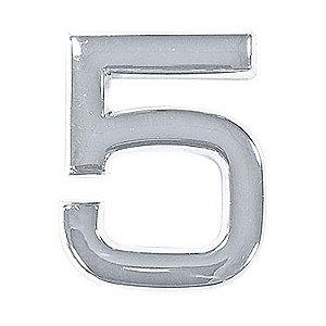 Número 5 em ABS Cromado 39mm Autoadesivo Bemfixa 8856