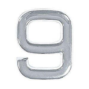 Número 9 em ABS Cromado 39mm Autoadesivo Bemfixa 8860