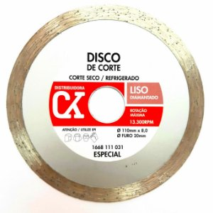 Disco Diamantado Liso 110 mm x 8,0