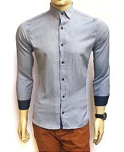 Camisa Social Slim Fit Azul Acinzentado Masculina