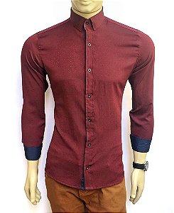 Camisa Social Slim Fit Vinho Masculina